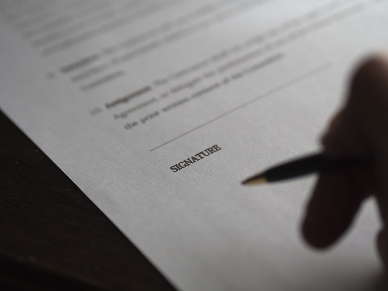 Person signing a lease